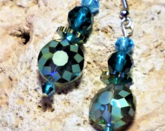 Teal Blue Crystal Medallion Beaded Earrings and Teal Blue Crystals to Match