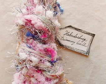 Strawberry Milk pastel pink white blue pom fringe trim Novelty Fiber Yarn Sampler Bundle