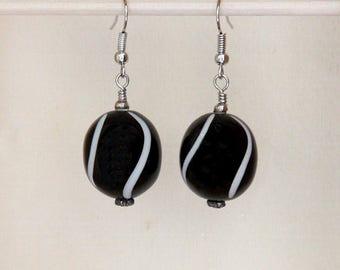 Black and White Earrings, Black Earrings