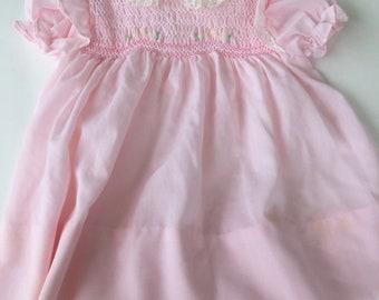 Rosa Hand Smok Baby Mädchen 2 Stück Outfit, Polly Flinders, Größe 3-6 M, Jahrgang 1970er Jahre