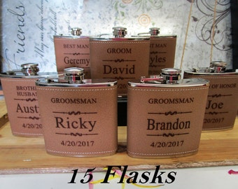 15 Flask Set, Personalized Flask Set, Personalized Engraved. Great Wedding Groomsmen or Best Man Gifts, Groomsmen Gifts, Bridesmaids' Gifts