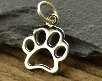 Dog Cat Paw Sterling Silver Charm Necklace / PawPrint Pets Animal Lover / Openwork Pendant 1209