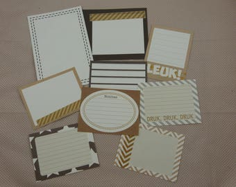 Set of 9 single cards, scrapbooking or cardmaking