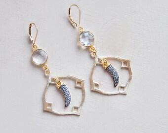 Small Horn Earrings, Horn Earrings, Crystal Earrings, Quartz Earrings, Festival Earrings, Bohemian Earrings, Boho Earrings, Long Earrings