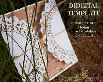 Rustic wedding Invitation Card laser Cut Template Cricut (ai, svg, pdf, png, cdr) vector file pattern, ornamental napkin Digital Download