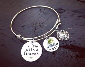 In Love With A Fireman Bangle Bracelet   Fireman's Wife Bracelet   Fireman's Wife Jewelry   Fireman's Girlfriend Jewelry   Firefighter
