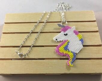 Unicorn necklace beaded