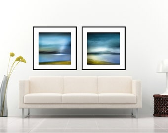Diptych, Large Abstract, Two Print Set, Home Decor, Blue, Canvas Large, Set of Two, Wall Art Living Room, art prints, Abstract Print Set