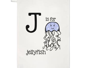 Letter J Is For Jellyfish Tea Towel Dish Cloth