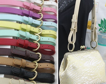 1pc (47-52)x2cm Adjustable leather handle bag purse leather strap purse handle adjuster single shoulder strap with brushed brass clasp