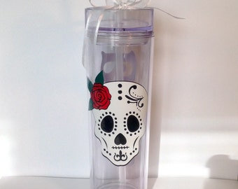 Personalized Sugar Skull Skeleton Day of the Dead Dios de los Muertos Skinny Tumbler Acrylic Tall Tumbler