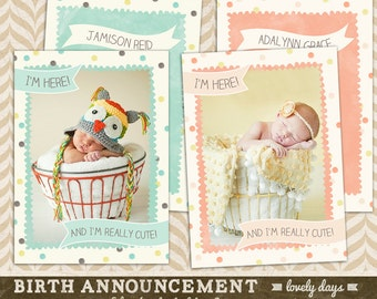 Girl and Boy Birth Announcements Template for Photographers INSTANT DOWNLOAD