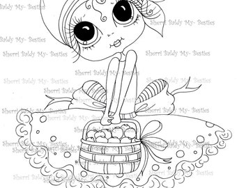 INSTANT DOWNLOAD Digital Digi Stamps Big Eye Big Head Dolls Digi  img099 By Sherri Baldy