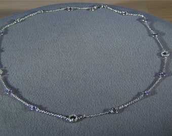 """Vintage Silver Tone Rope Round Oval link Round Rhinestone 30"""" Necklace Chain     W"""