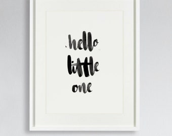 """Hand lettered baby's nursery wall art, """"hello little one"""" print."""