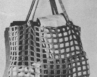 1947 Market Shopping Bag Vintage Crochet Pattern PDF Instant Download 397