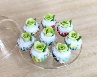10 Miniature Green Rose Cupcake,Miniature Rose cake,Miniature cupcakes,miniature sweet,miniature bakery,Dolls house,Dollhouse Rose