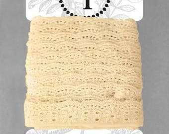 Naturally Dyed Organic Cotton Lace, 25mm wide - Sand *sold by the 5m card*