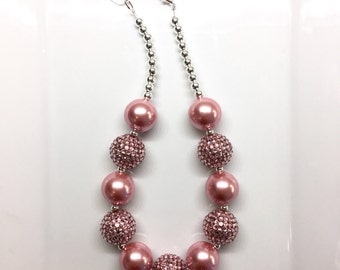 Dusty Rose Pink Christmas Holiday Birthday Flower Girl Chunky Beaded Bubblegum Necklace