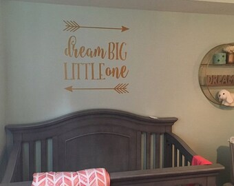 Dream Big Little One | Nursery Wall Decal | Rustic Nursery Decor
