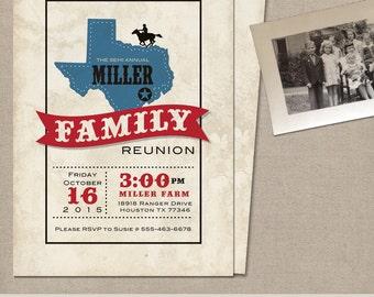 Texas Theme Party Family Reunion Invitation BBQ invitation Outdoor Party Invitation Digital - Print option - Party Invite - Under the Stars