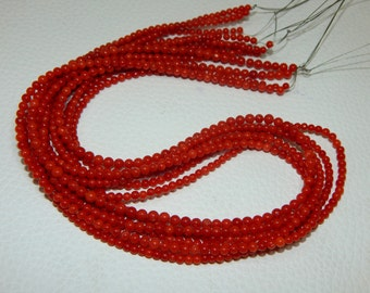 """70%OFF Italian Coral Round Beads 100 Percent Natural Gemstone / Red Coral Smooth Beads / Size 3.4x3.mm Approx 18""""Inches  - 399"""