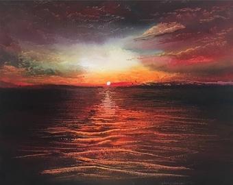 Original Oil Painting, Ocean Seascape, Painting On Canvas, Ibiza, Sunset, Wall Art, Original Art, Sailing Back Home By Murray Stewart