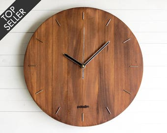 Wall Clock, Steampunk Wall Clock, Modern Clock, Wooden Wall Clock, Living Room Decor, Big Oval, Round Clock, Office Clock, Wooden Gift