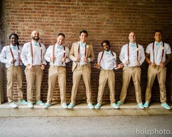 Free Ship Brown Leather Suspenders for the Groom & Groomsmen
