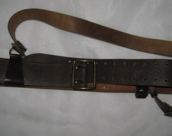 "Russian Officer leather brown belt ""Portupeya"""
