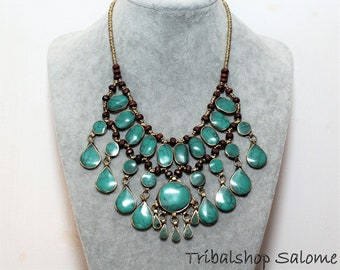 Green Tribal Afghan Nomad Hippie Boho, Tribal Fusion Necklace, Bib Necklace with Green Stones, Green Collier