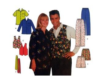 Button Up Shirt, Elastic Waist Pants, Shorts, Vest, Tie, Women's, Men's, Teen's Sewing Pattern Size Large, XL Uncut Simplicity 8989