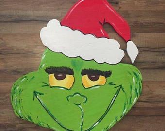 Christmas door hanger, grinch, door hanger, season, green, christmas