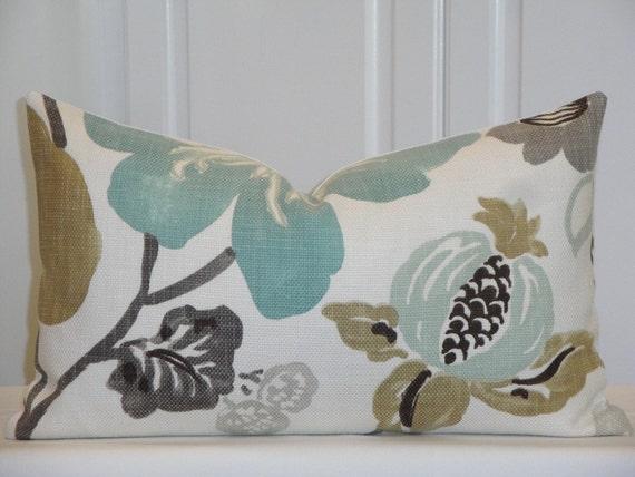 Decorative Pillow Cover Teal Aqua Green Brown Tan