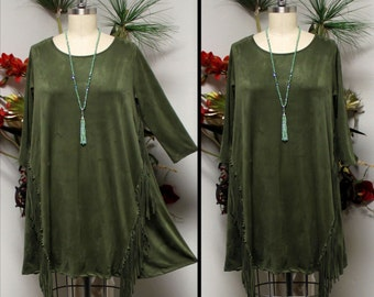 New Adorable, Suede Tunic, Western Wear Tunic, Fringe Detail Tunic, Olive Dress, Suede Dress, Suede Top.