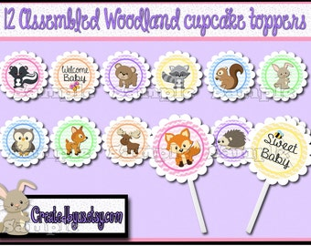 Woodland Cupcake Toppers Woodland Baby girl shower Decorations Custom forest animal favors cupcake pick cake topper cupcake top 12 assembled