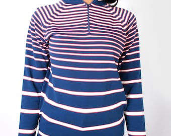 Vintage 70's Red White Blue Striped Pullover Zip Up Mock Turtleneck Sweater // Vintage Womens Turtleneck (sz xs s m)