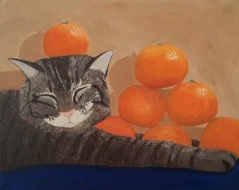 Cat Painting, Still Life Painting, Original Painting, Fruit Still Life, Acrylic Painting, Fruit Painting, Animal Painting, Small Painting