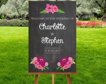 Chalkboard Flower Wedding Welcome Sign