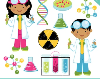 Scientist Kids V2 Cute Clipart, Science Kids, Science Clip art, Scientist Graphics, Kids in Lab Coats, Test Tube, DNA, Molecule Graphics