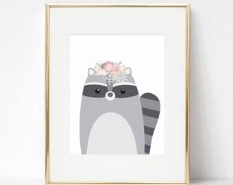 Boho nursery, Girls nursery prints, Raccoon print, Woodland nursery, Woodland decor, Boho decor, Boho prints, Nursery prints, Nursery decor