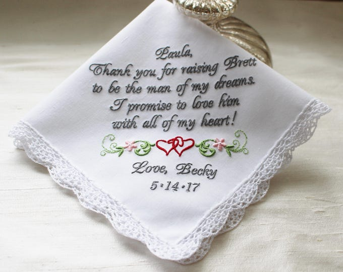 Embroidered Wedding Handkerchief for Mother of the Groom, Personalized Keepsake Wedding Handkerchief,  Mother of the Groom Gift,  Hankies