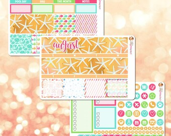 August Monthly Kit, Monthly View Sticker Kit for Erin Condren Life Planner - 105 stickers!