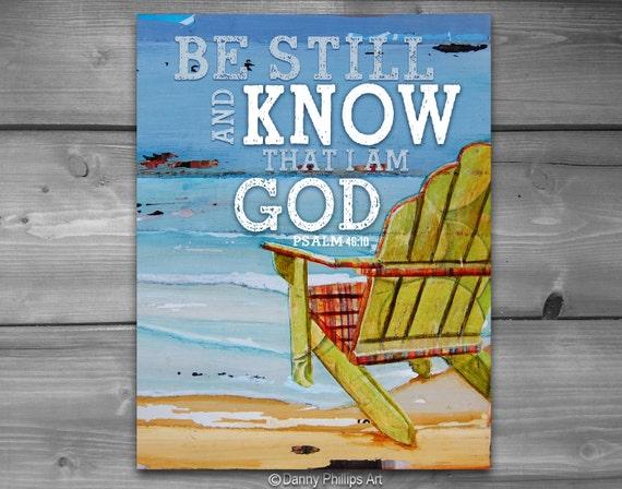 ART PRINTABLE, Psalm 46:10, Christian gift, Scripture print, Beach art, quotable, wall decor, ocean art, digital download, coastal art, 8x10