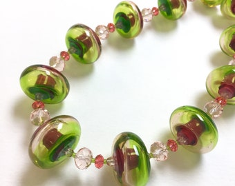 """Watermelon Necklace of Handmade Glass Hollow Beads 22"""""""
