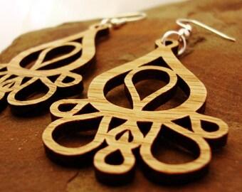 Sustainable Wooden Earrings - Dripping Tears - in Oak