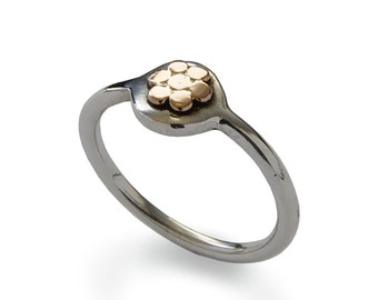 Tiny Flower ring, sterling silver, 9K yellow Gold , Round flower ring, everyday ring, Daintysilver ring, Two tones ring, Gold flower ring
