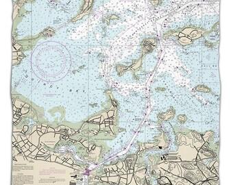 MA: Quincy, MA Nautical Chart Fleece Throw Blanket, Map Blanket