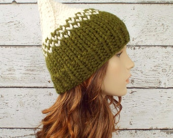 Cream and Olive Green Knit Hat Green Womens Hat - Green Gnome Hat Green Hat Green Beanie Womens Accessories Winter Hat