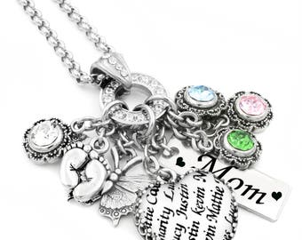 Silver Mother's Necklace , Mothers Day Gift for Aunt, Grandma with children's names in a Heart Charm